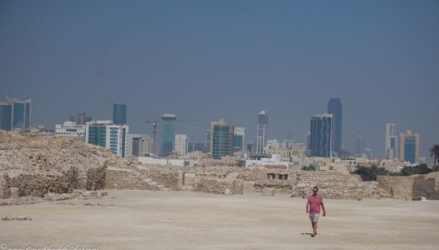 Bahrain Fort with Manama in the background