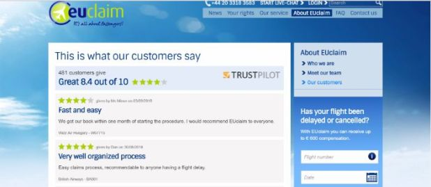 EUCLaim customer testimonials