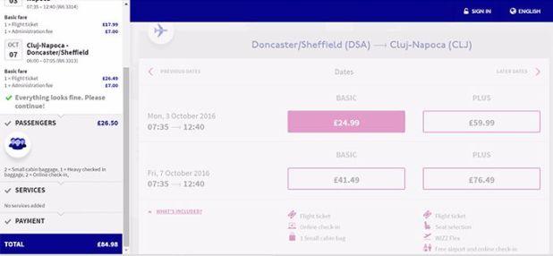 Wizz Basic flight option