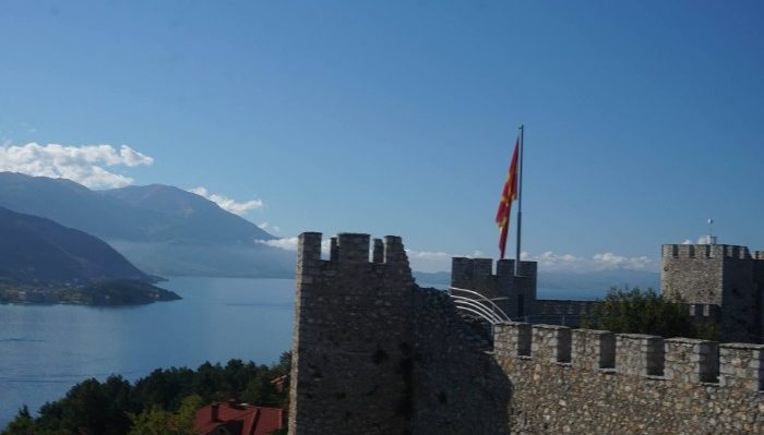 Views over to Albania from Samuils Fortress, Ohrid, Macedonia