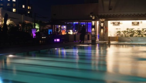 The pool deck by night at Holiday Inn, Makati