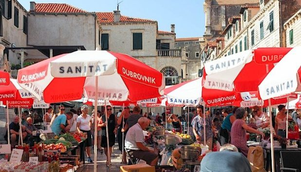 Shopping at the market in Dubrovnik