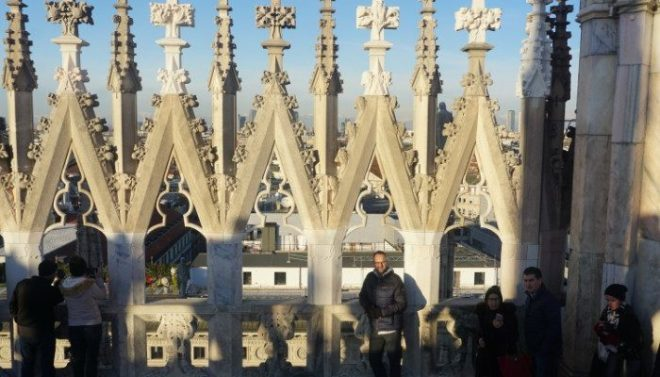 Jason on Milan cathedral rooftop