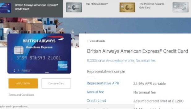 Detals of FREE British Airways AMEX card