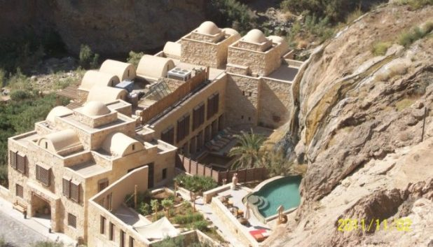 View of the spa from the cliffside at Ma'In