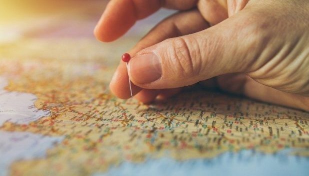 Selecting a destination on a map