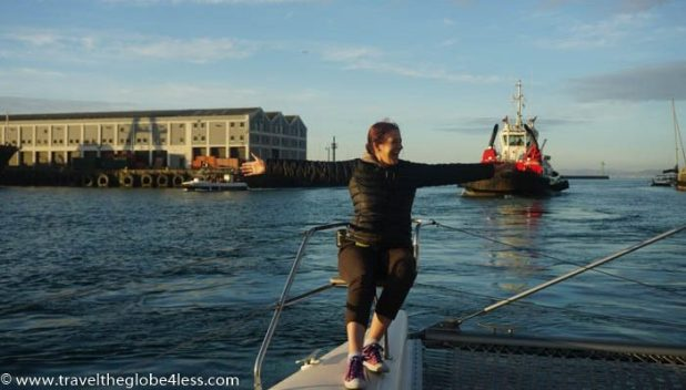 Leaving the harbour of the Victoria and Albert in Cape Town