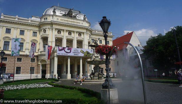 Bratislava theatre and spray point