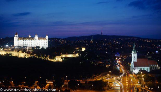 Bratislava castle by night