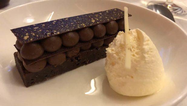 British Airways First Class chocolate dessert
