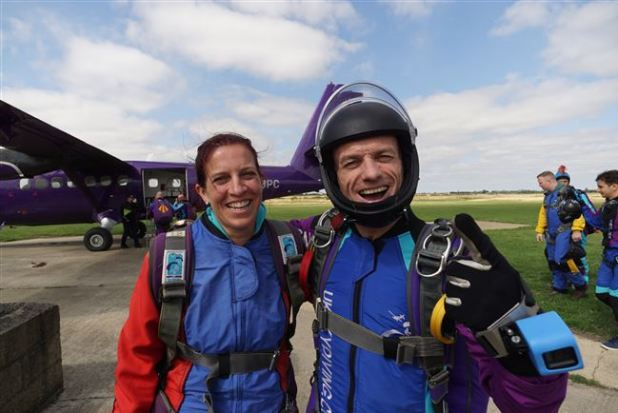 Geared up for skydiving jump