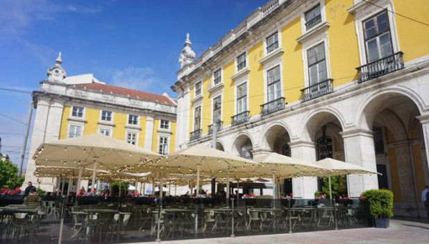 Cafes in a lisbon square