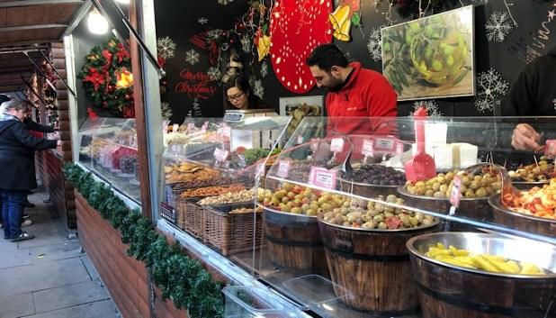 Food stalls at Manchester Christmas market