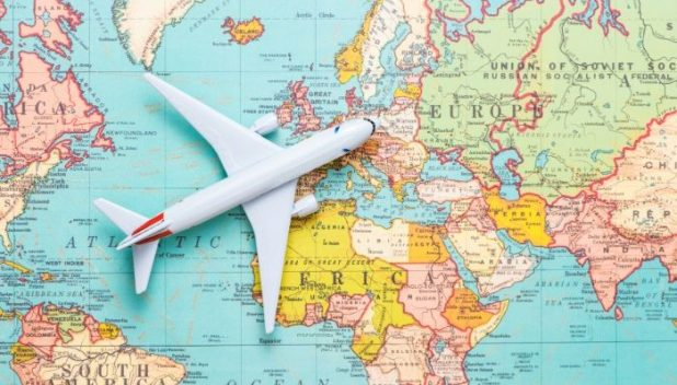 travel map and plane
