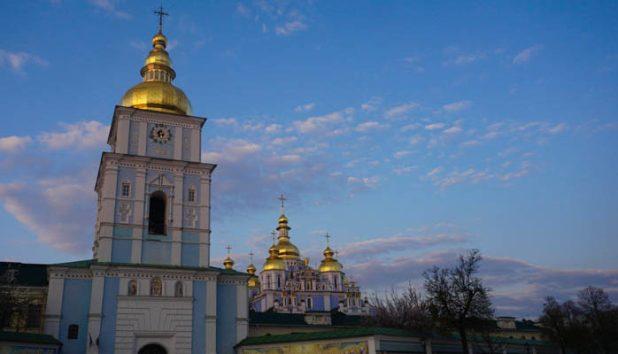 Golden Domed Monastery at sunset