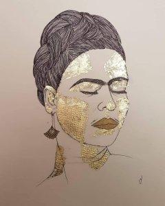 Frida Kahlo, tratto pen e foglia d'oro. Artista: Valentina Ardino