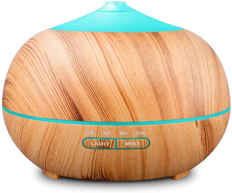 diffusore di oli essenziali dalla forma a goccia, marrone chiaro e azzurro
