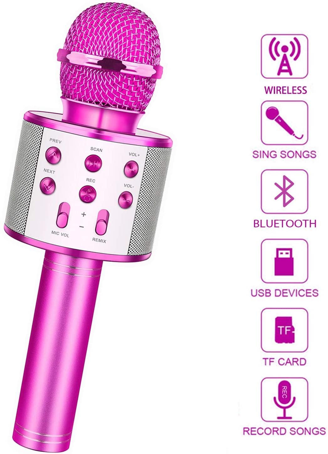 LetsGO toyz Bluetooth Microfono Karaoke per Bambini, Ragazze Festa di Famiglia Giocattolo Regalo