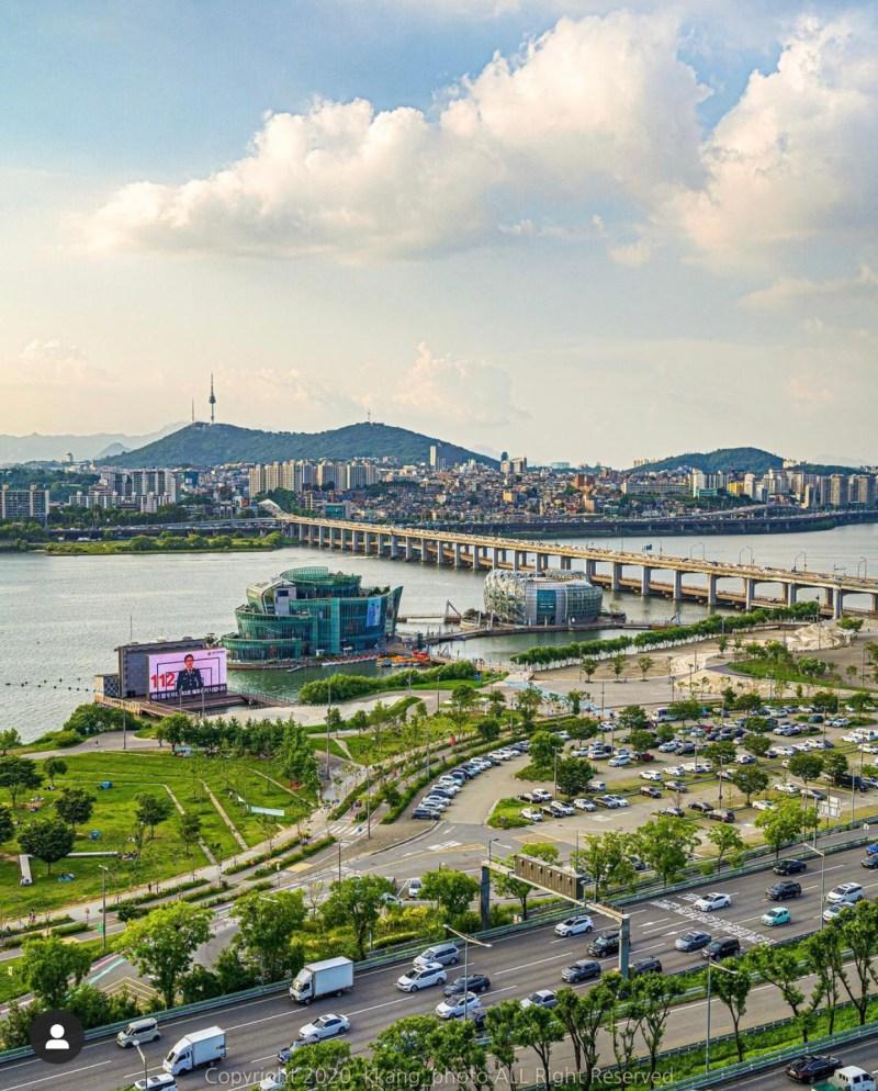 Seoul Parco Hangang e fiume Han.