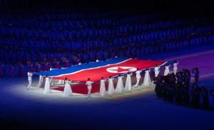 Solo a Pyongyang Corea del Nord bandiera giochi