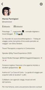 marzia parmigiani profilo Clubhouse il social basato sulla voce traveltherapists