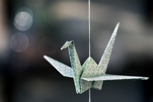 Origami gru di colore verde appesa con un filo a un soffitto