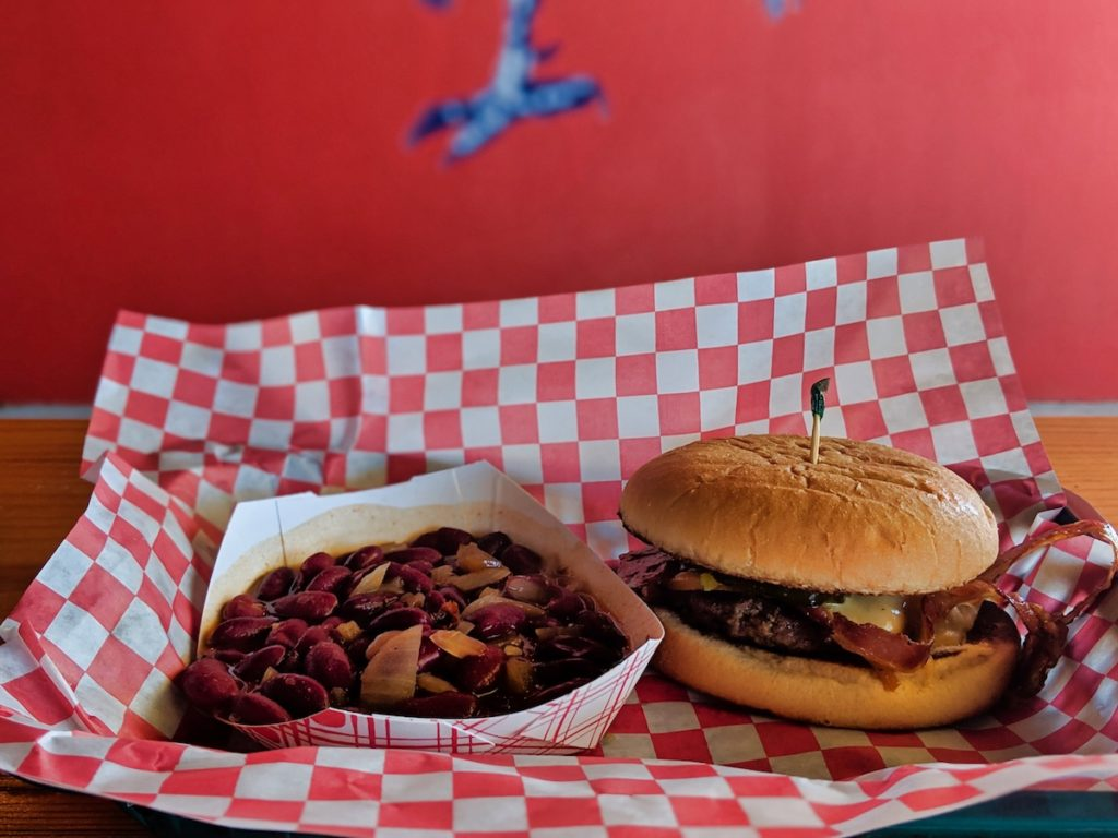 Spicy Smokehouse Burger with DeeLuxe Chili Beans
