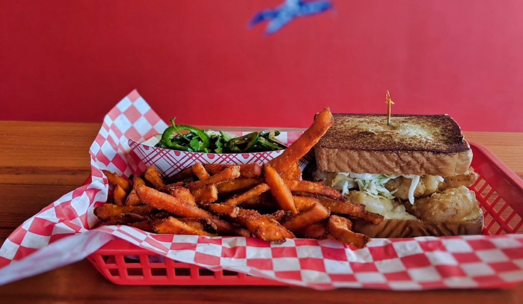 Way Out East Chicken Sandwich with Sweet Potato Fries