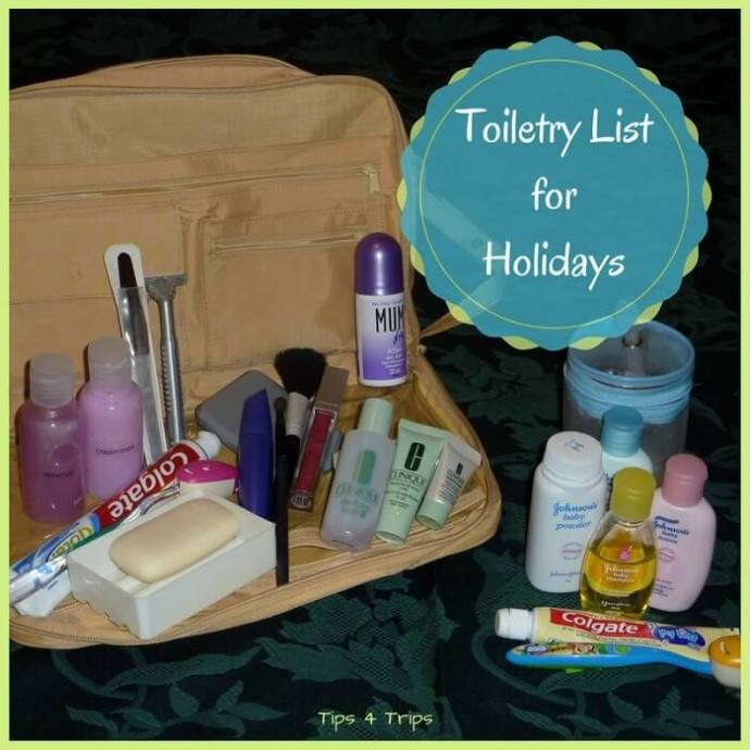 A travel toiletry packing list for holidays. Use this holiday checklist to know which toiletries you need to pack for a vacation.
