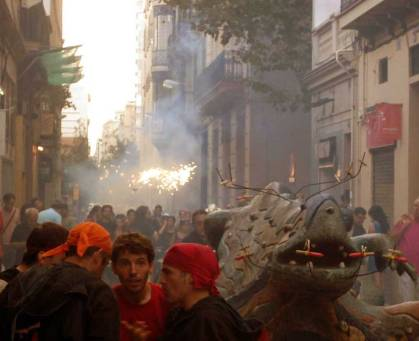 Correfocs at Festes Major de Gracia in summer