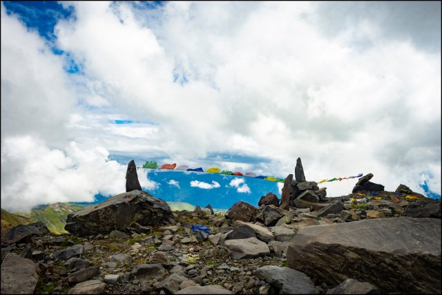 Prayer flag at Kalihani Pass, Himachal Pradesh, India