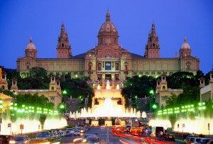 The National Palace Magic Fountain on Plaza de Espaynya at night in Barcelona, Spain