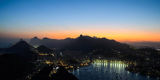 Zonsondergang over Rio de Janeiro