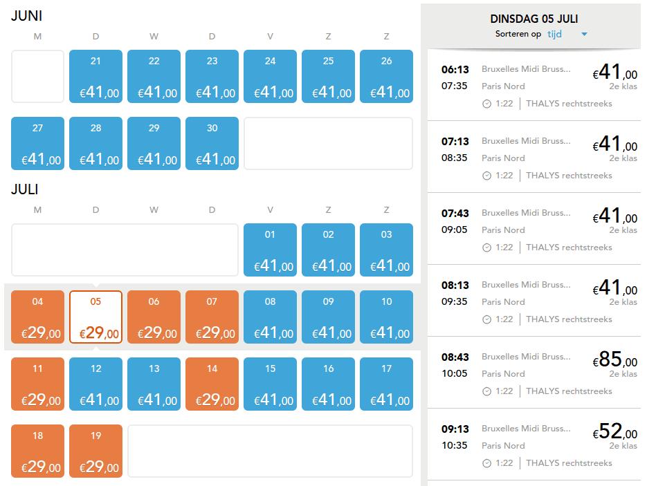 Kalenderoverzicht laagste prijzen Thalys