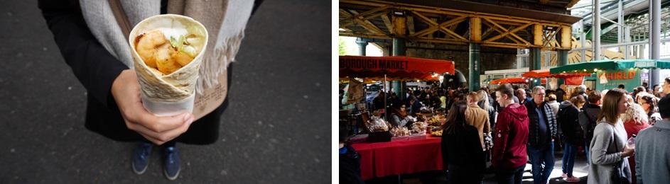 Scampi wrap in Borough Market in Londen