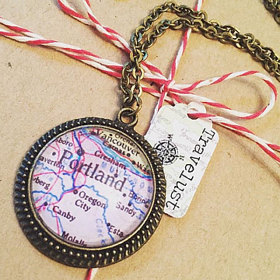 Portland map necklace