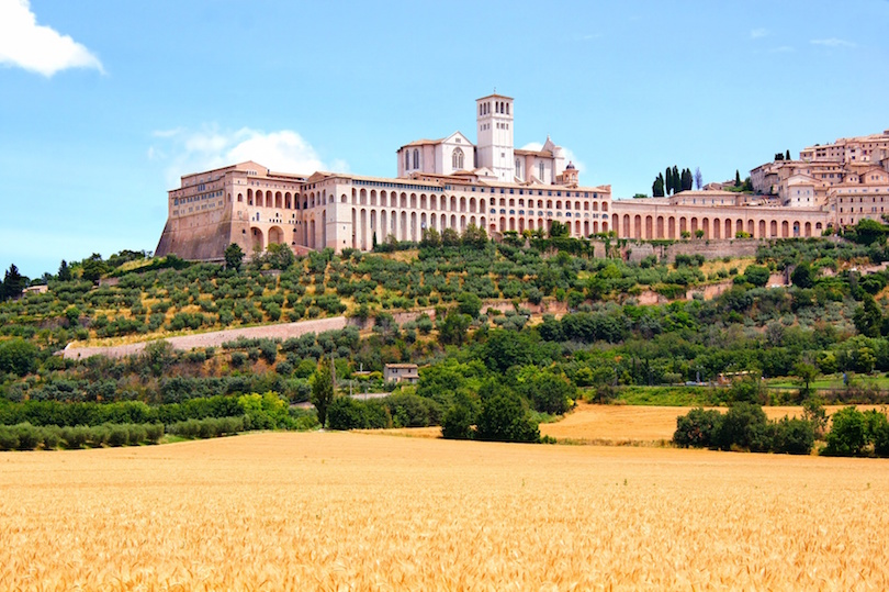 View towards the famous Basilica of St Francis, Assisi