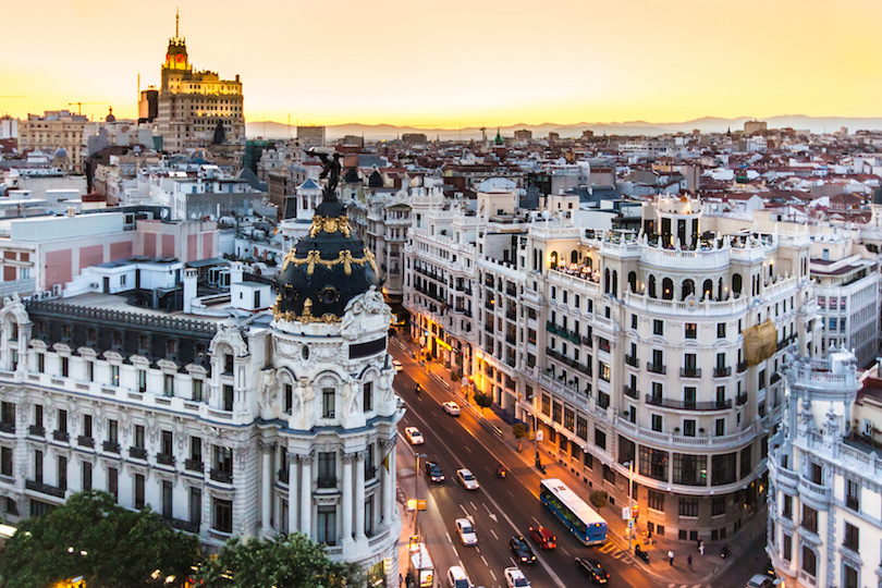 Panoramic view of Gran Via, Madrid