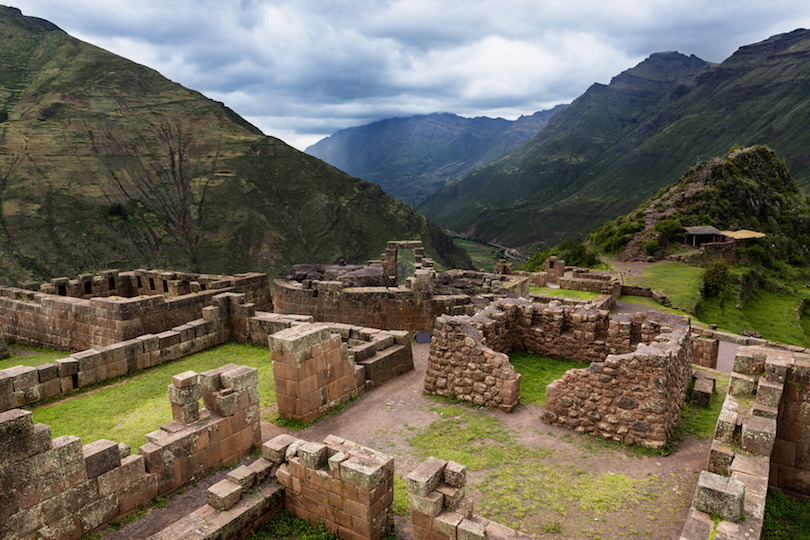 View of Inca Ruins near the town of Pisac in the Sacred Valley