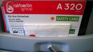 Air Berlin Safety Card