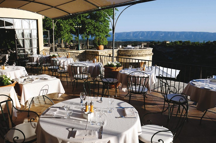Panoramic Terrace at La Bastide de Gordes (Image Source: The Leading Hotels of the World / lhw.com)