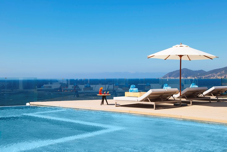 The exclusive rooftop pool