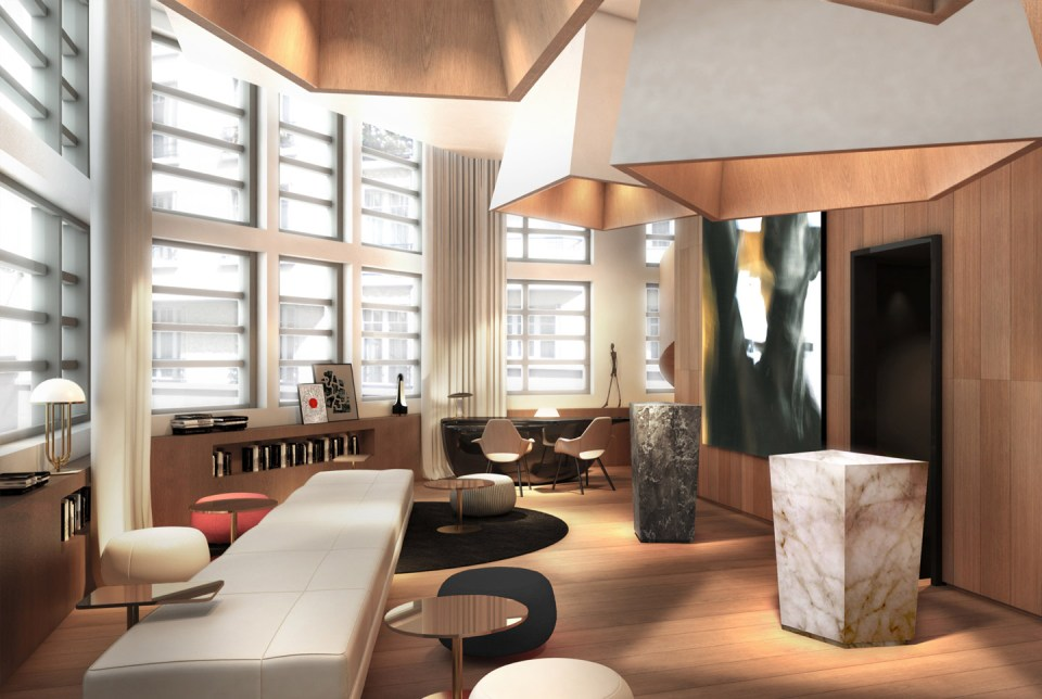 The hotels lobby is designed very modern (Image Source: Le Cinq Codet / le5codet.com)