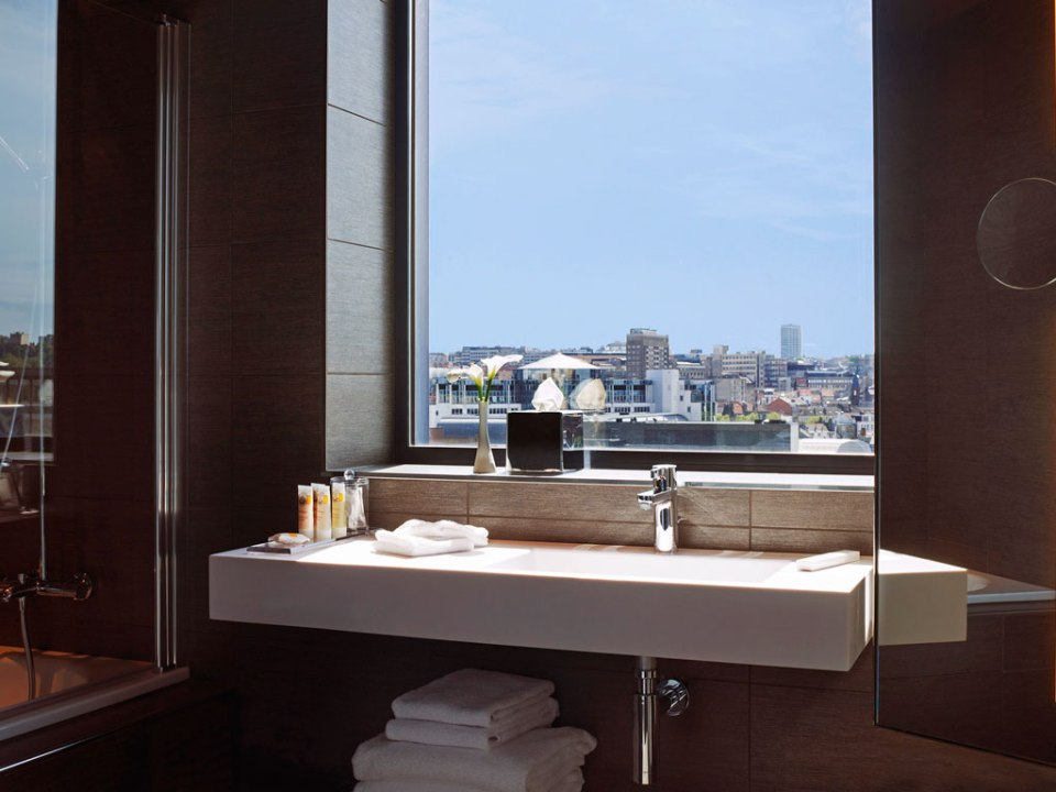 Bathroom with a view (Image Source: Pullman Brussels Centre Midi / pullmannhotels.com)