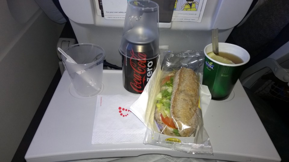 Sandwich and drinks