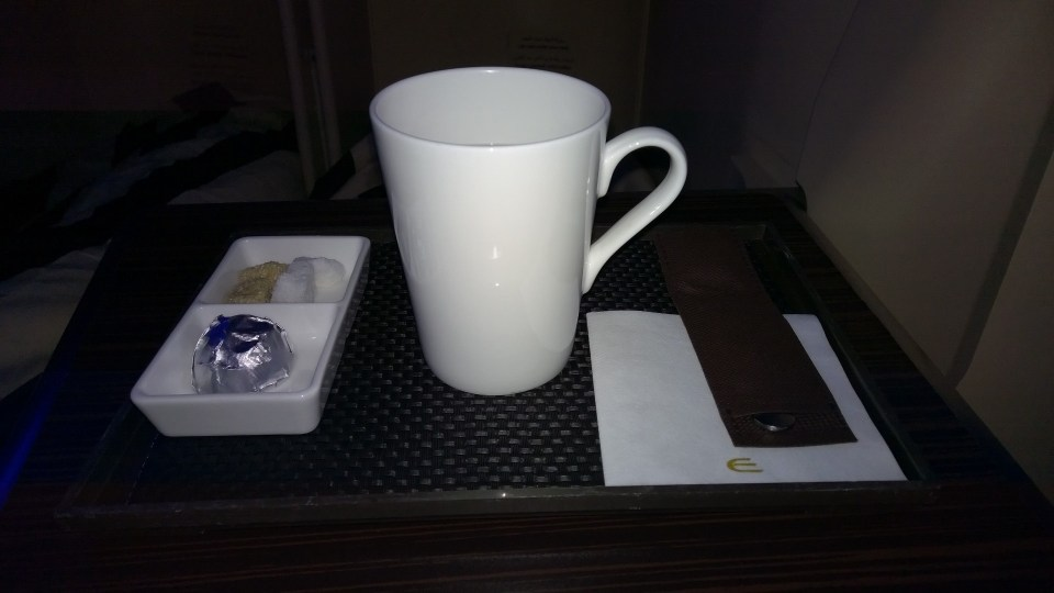 Hot drinks are always served in a tray with a piece of chocolate