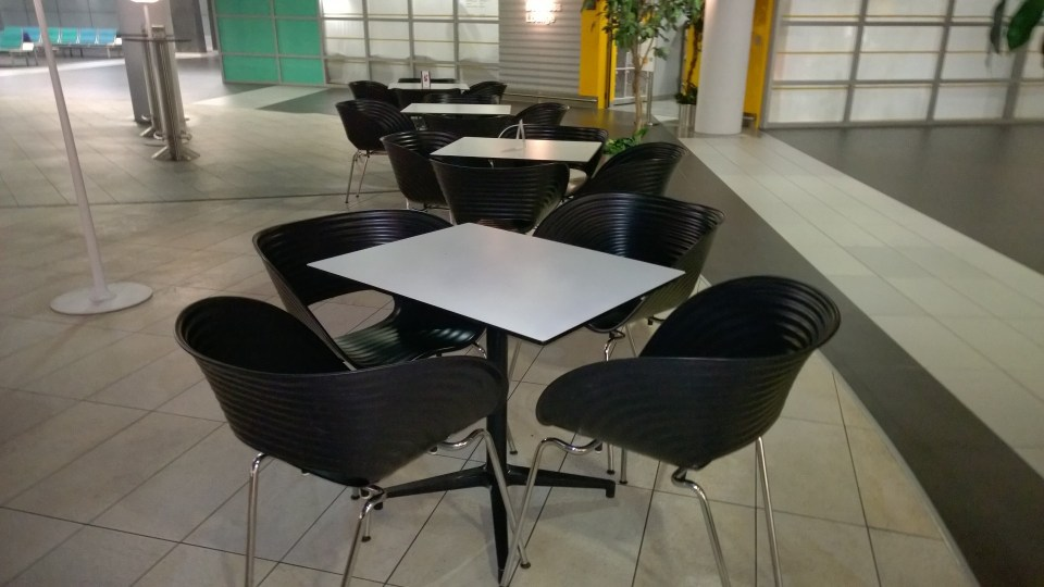 Lonely seats in the only café that opens early in the morning