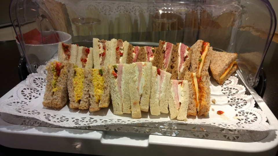 Sandwiches in the British Airways Lounge