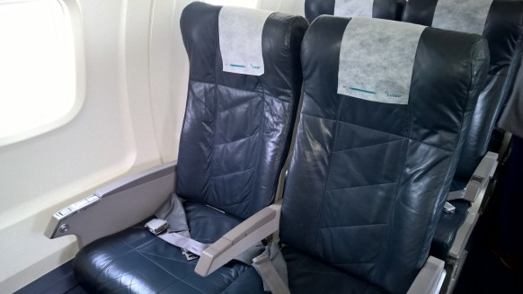 Double seats on the right side of the airplane