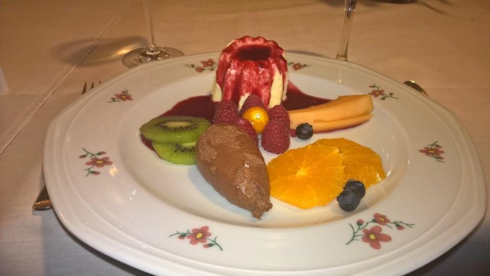 The dessert: Panna Cotta, Chocolate Mousse, fresh fruits
